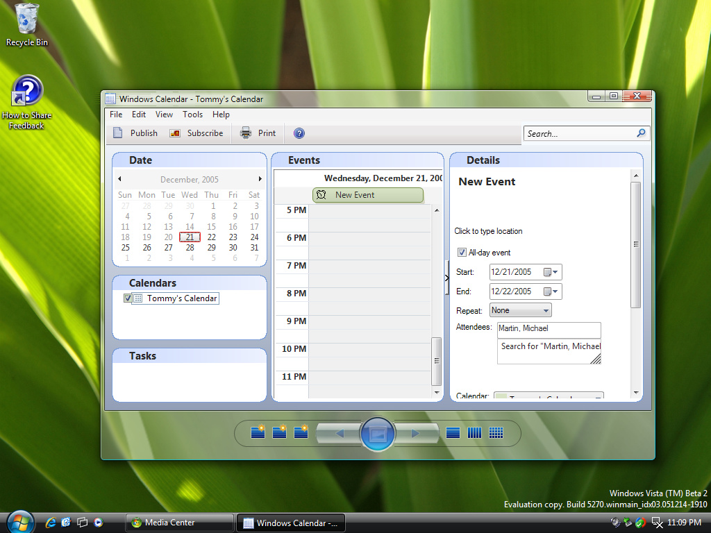 Windows Vista mit Kalender