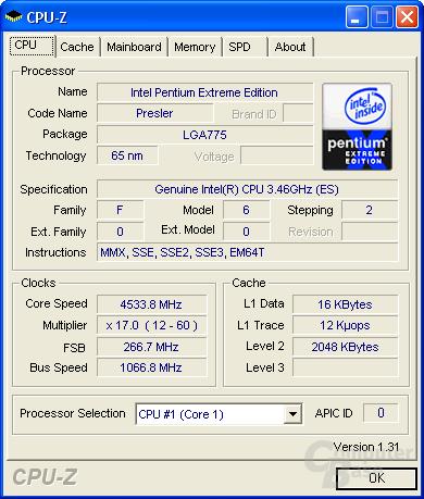 Pentium XE 955 auf 4,53 GHz