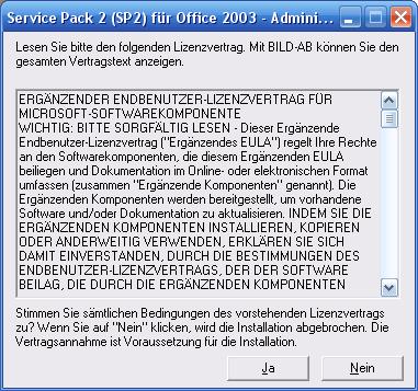 Lizenzvertrag des Service Pack akzeptieren