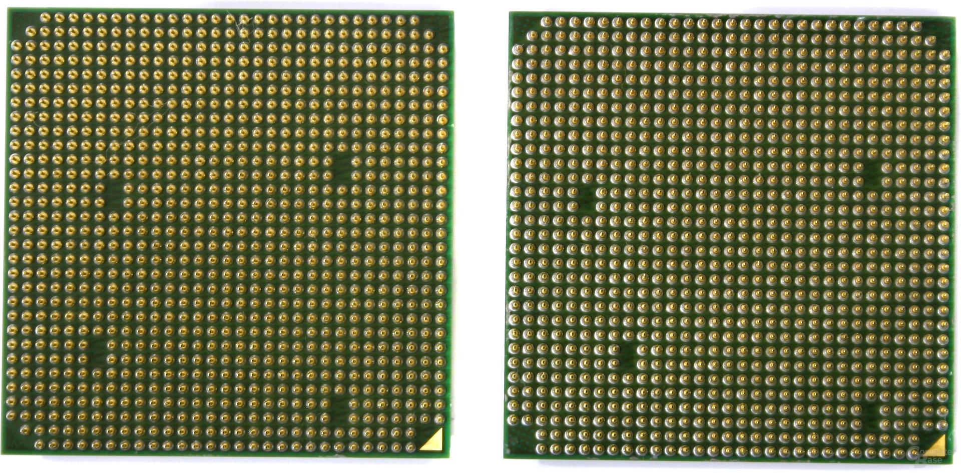 Sockel AM2 (Links) und Sockel 939 (Rechts)