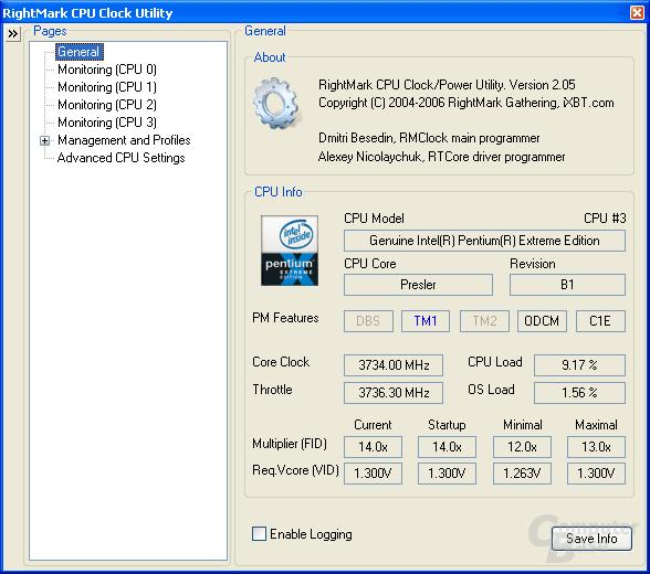 Der alte Pentium XE 955 bietet kein C1E