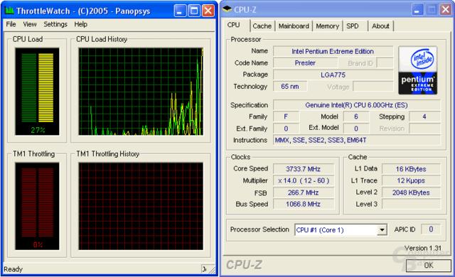 Pentium XE 965: Bei Belastung mit 3,73 GHz