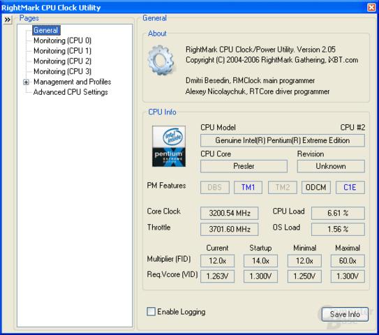 Der neue Pentium XE 965 unterstützt Enhanced Halt State (C1E)