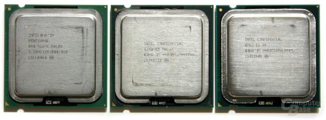 v.l.n.r: Pentium XE 840, Pentium XE 955, Pentium XE 965