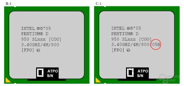 Beim C1-Stepping wird die Verbrauchsklasse (rot) auf dem Heatspeader angeben.Entgegen den ursprünglichen Erwartungen wird der Pentium D 950 (C1-Stepping)in der sparsameren 05A-Klasse erscheinen.
