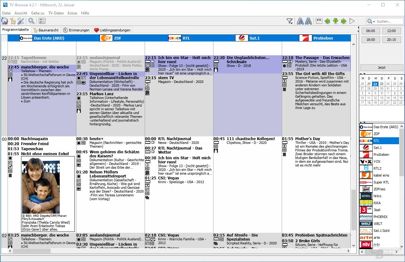 TV-Browser – Oberfläche