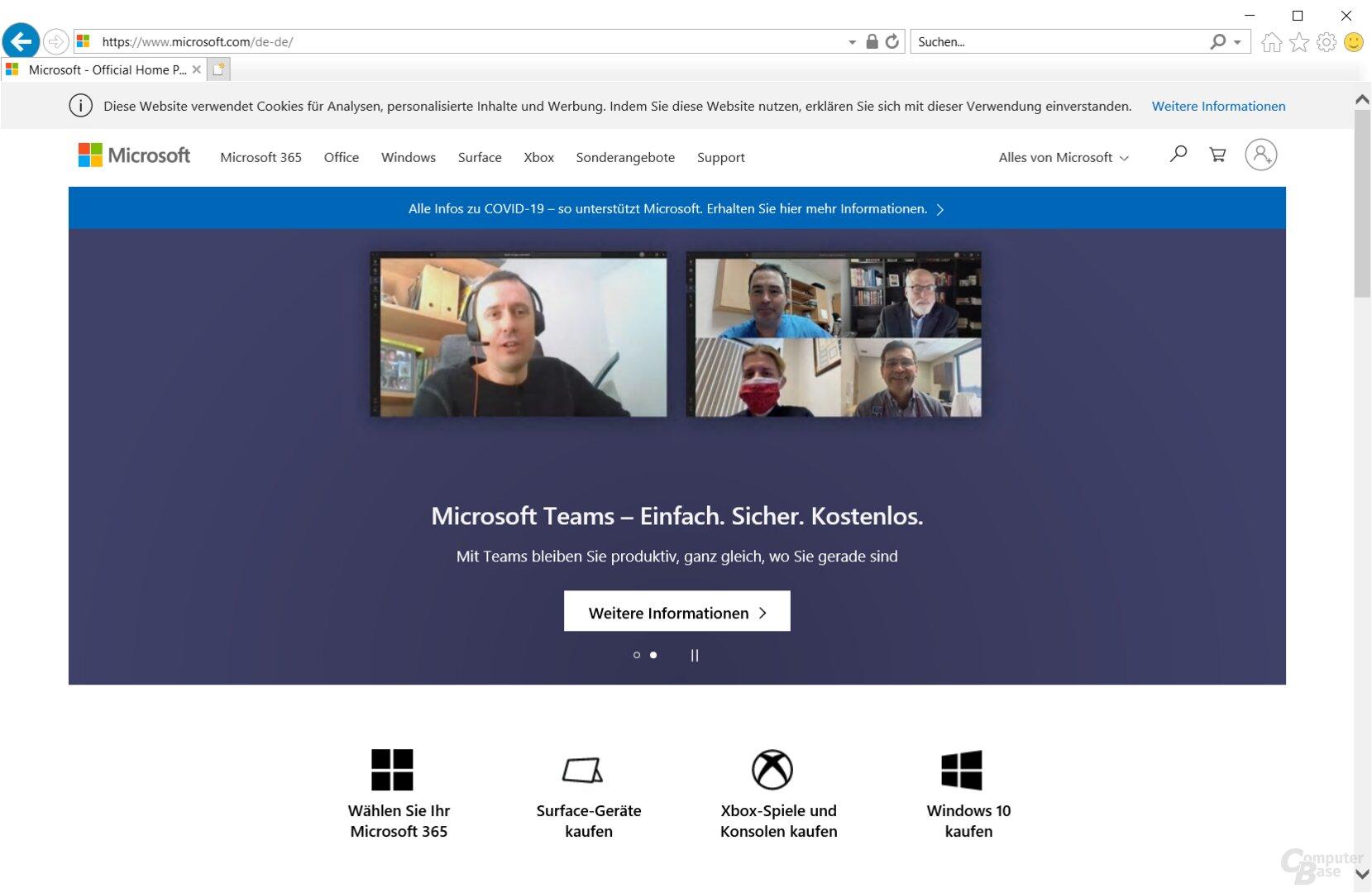Internet Explorer 11 – Oberfläche