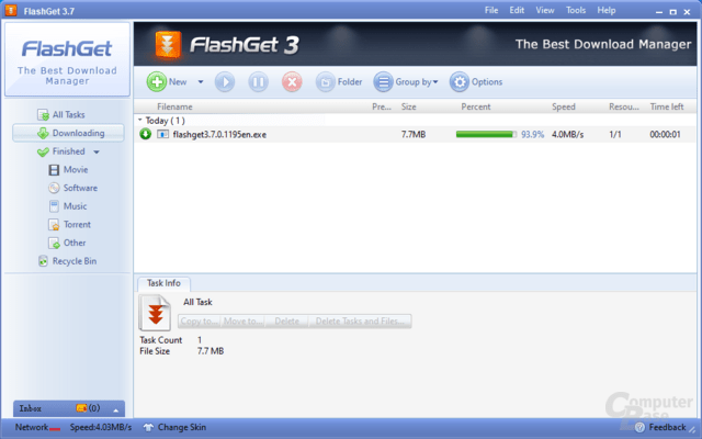 FlashGet - Downloading