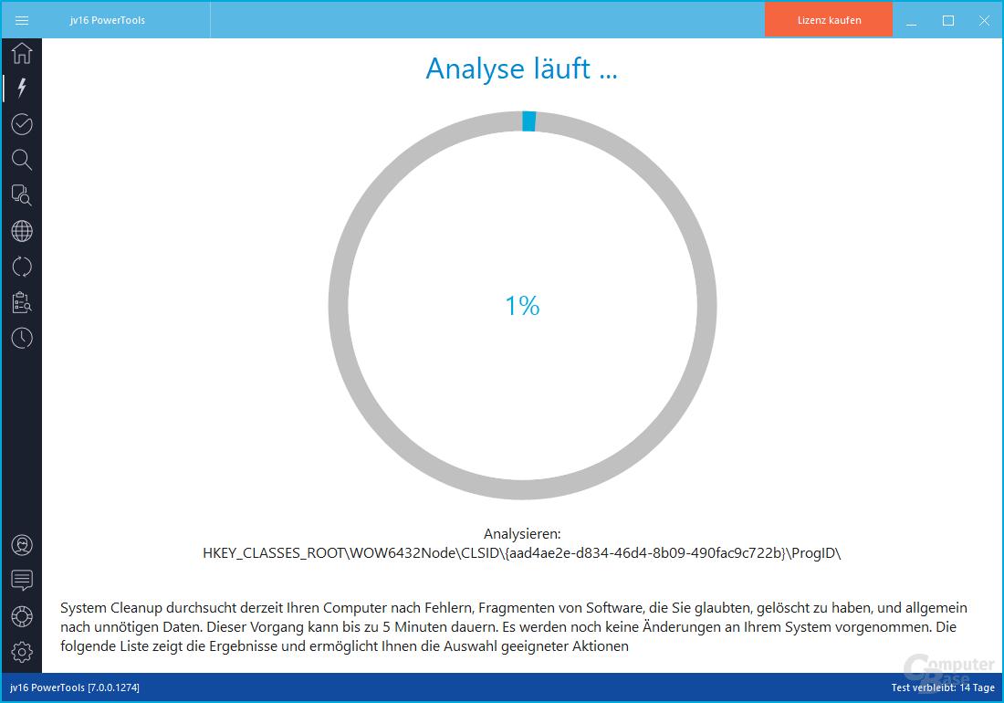 jv16 PowerTools – Analyse läuft