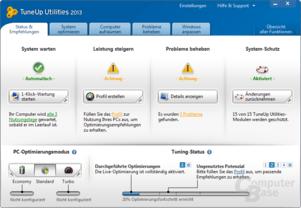 TuneUp Utilities 2013 – Startoberfläche