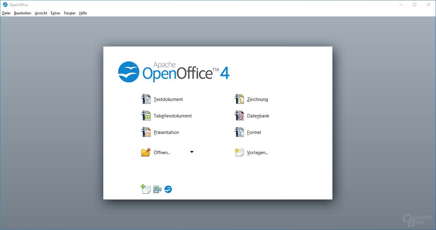 Apache OpenOffice 4 – Startbildschirm