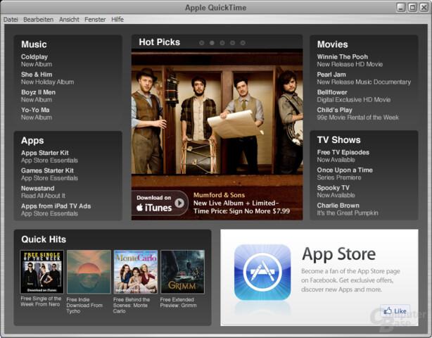 Apple QuickTime – Hauptfenster