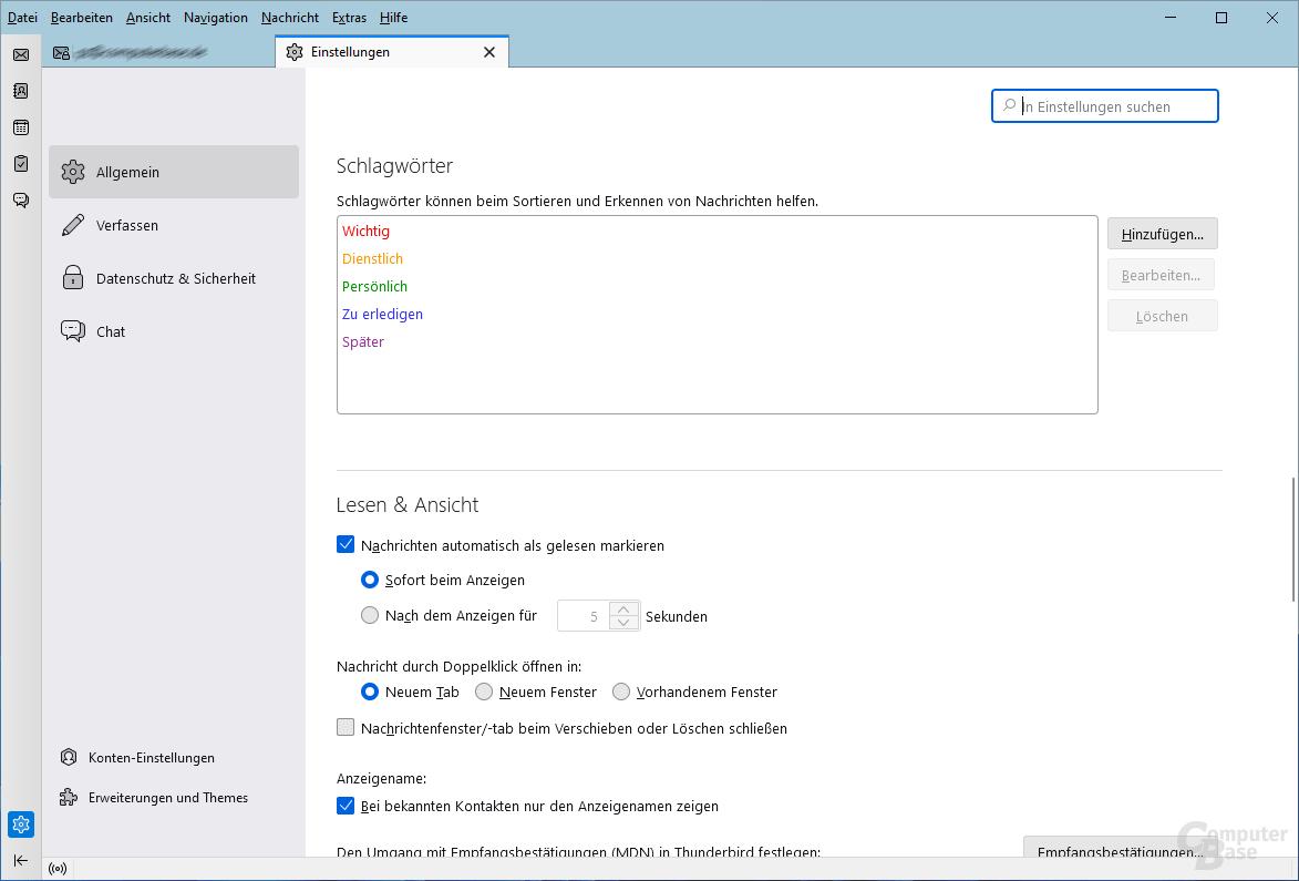 Mozilla Thunderbird – Startseite