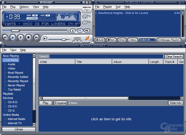 Winamp – Standard-Fensterlayout