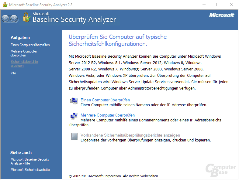 Microsoft Baseline Security Analyzer – Oberfläche