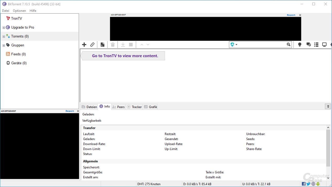 BitTorrent – Oberfläche