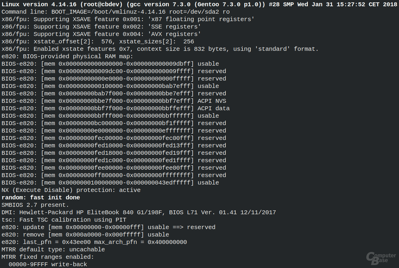 Linux 4.14.16 bootet auf einem HP EliteBook 840 G1