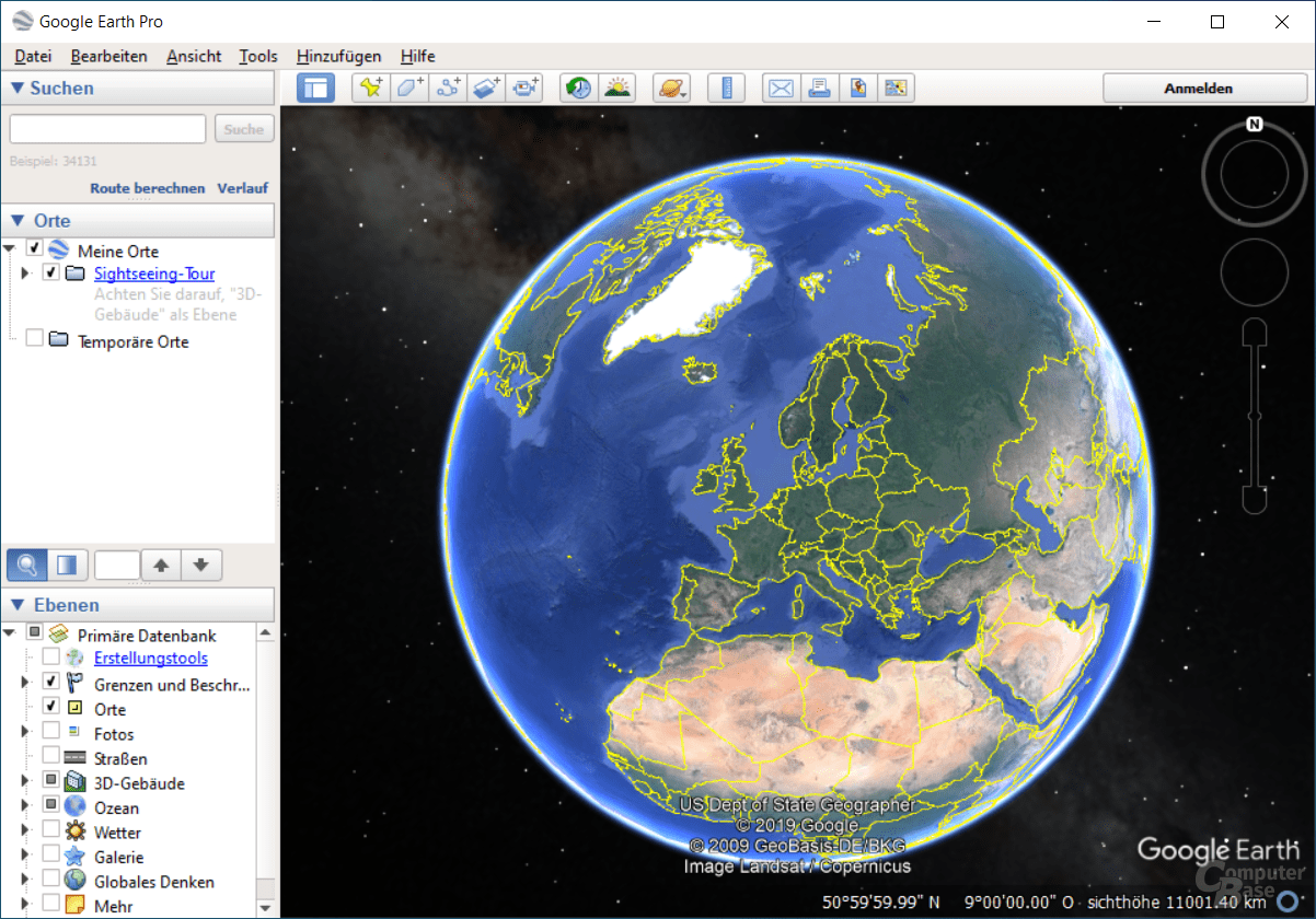 Google Earth Pro – Startseite