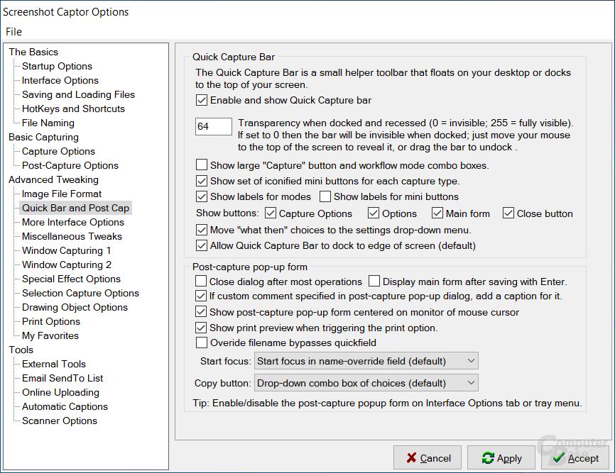 Screenshot Captor – Einstellungen