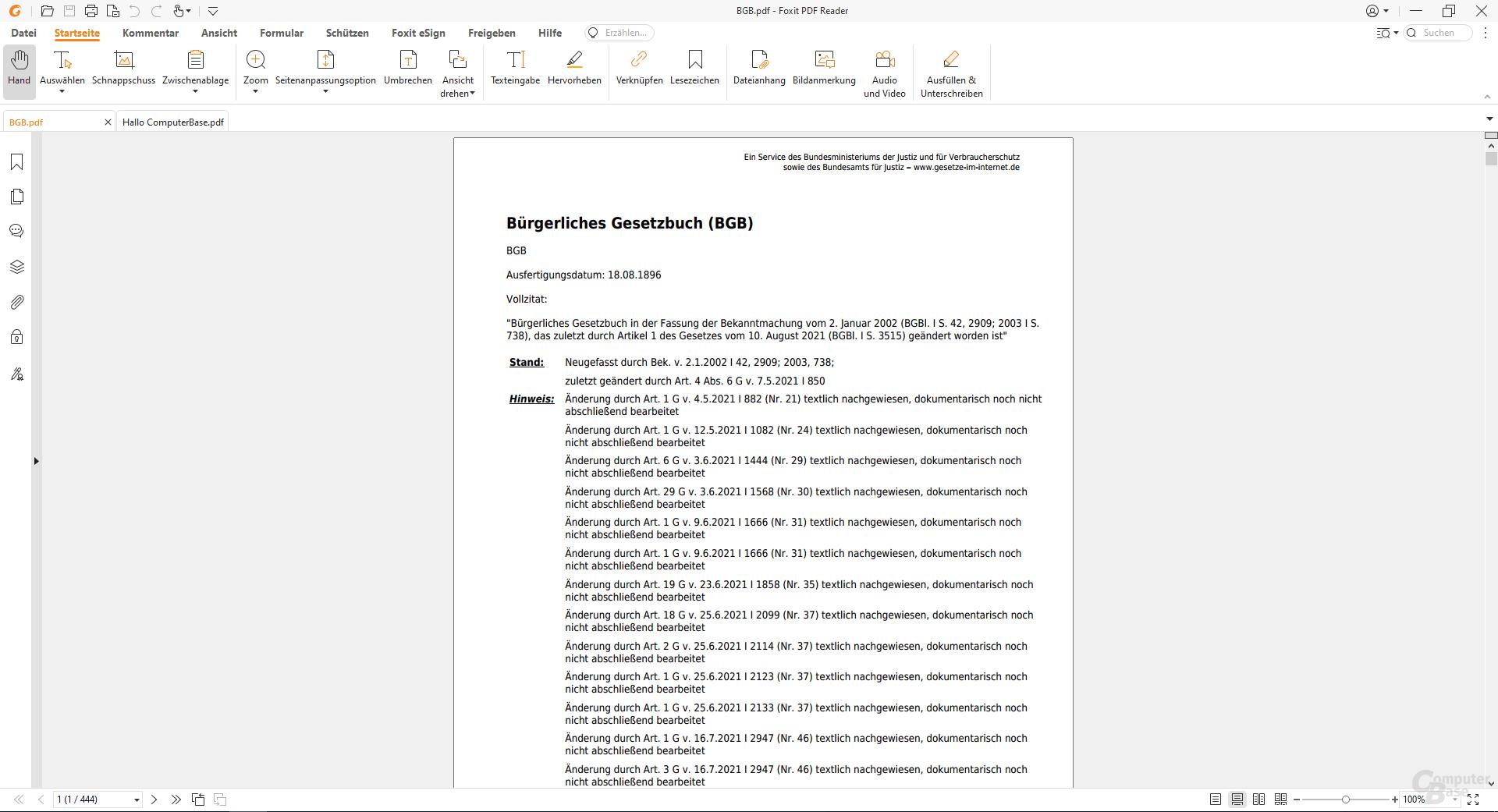 Foxit PDF Reader – Oberfläche