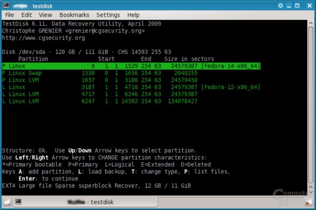 TestDisk unter Fedora 14 (Linux)
