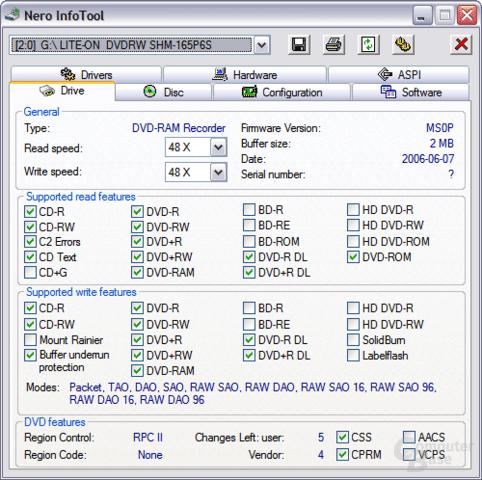 Nero Info Tool: LiteOn SHM-165P6S