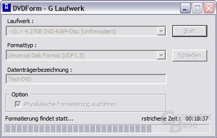 DVDForm beim Formatieren einer DVD-RAM