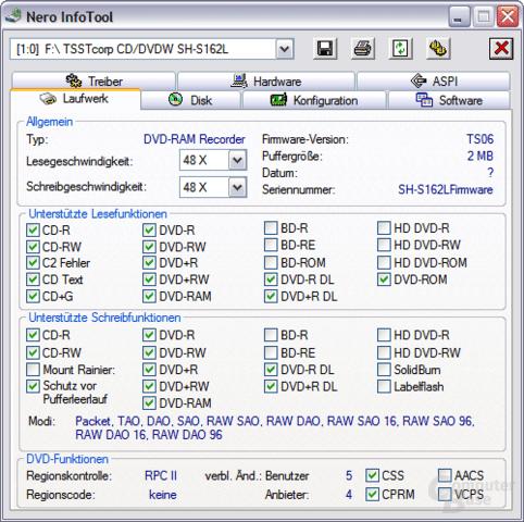 Nero Info Tool: Samsung SH-S162L