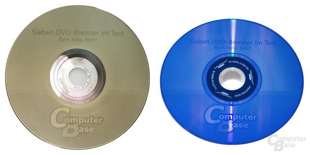 """Vergleich LightScribe """"Entwurf""""  vs. LabelFlash """"Schnelldruck"""""""