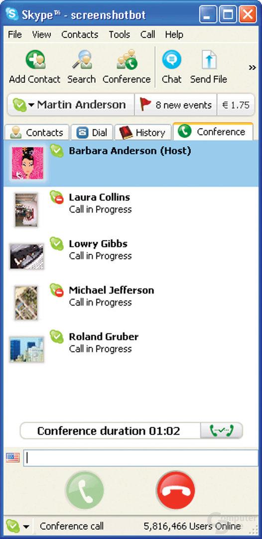 Konferenzgespräch in Skype Beta 2.5