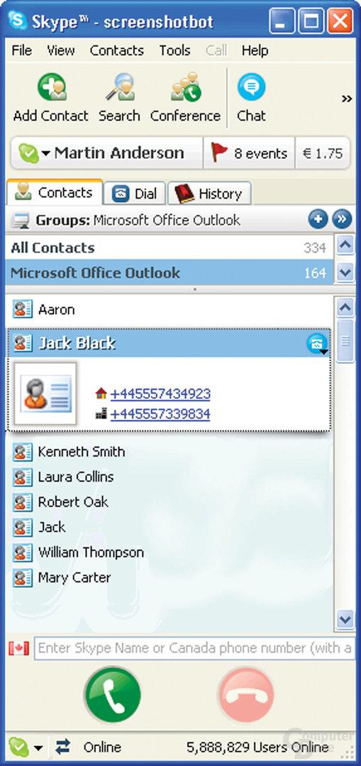 Outlook-Kontakte in Skype Beta 2.5