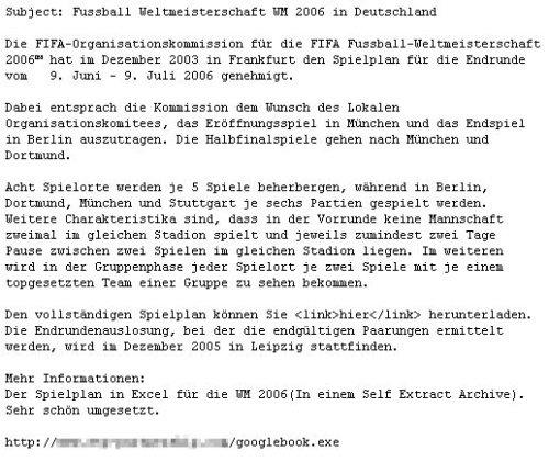 Eine typische Email des WM-Trojaners