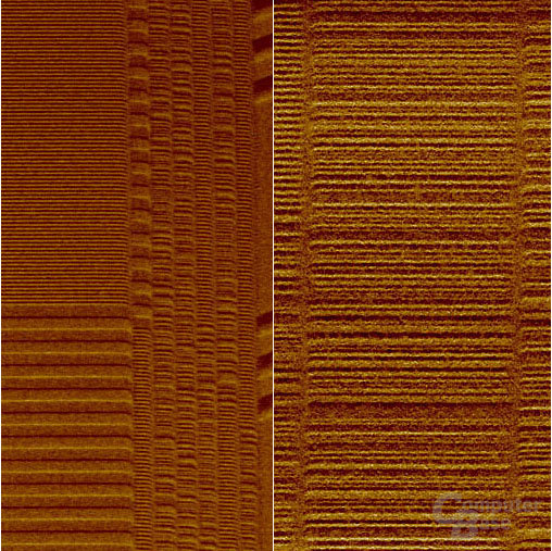IBM Forscher packten Daten auf ein Magnetband bei einer Schreibdichte von 6,67 Milliarden Bits pro Quadrat-Inch (links) - mehr als das Fünfzehnfache der Datendichte heutiger Industriestandard-Magnetbänder des Typs LTO3 (rechts). Das ist Weltrekord.