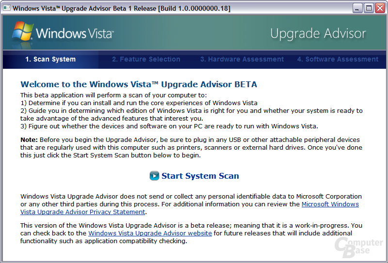 Windows Vista Upgrade Advisor - Start