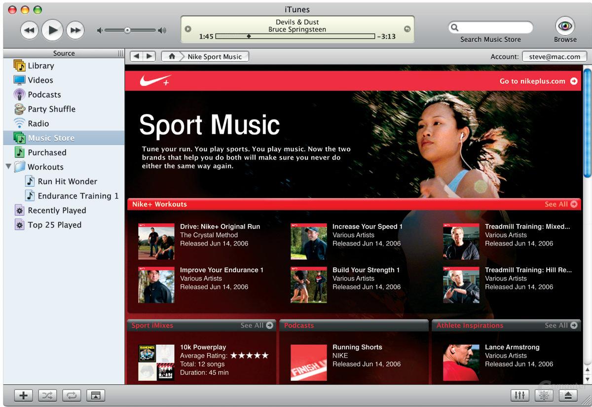 """Nike Sport Music"" im iTunes Music Store"