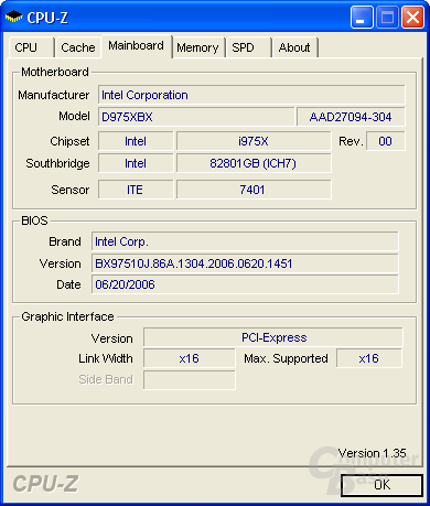 Wir testen auf Intel D975XBX (Bad Axe) der Revision 304