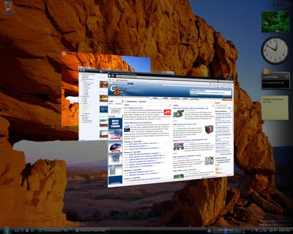 Windows Vista Build 5456 (Post-Beta 2) - Flip-3D mit Anti-Aliasing