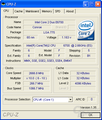 Core 2 Duo E6700 bei 2,66 GHz