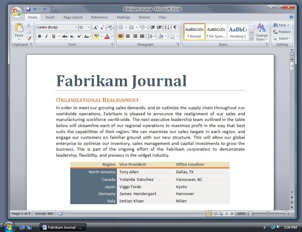 Office 2007 Silber bei Windows Vista