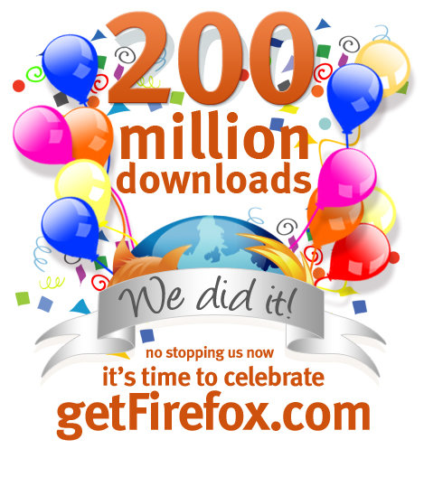 We Did It – 200 Millionen Firefox-Downloads