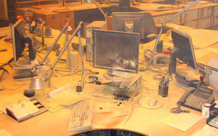 Die Überreste des Büros