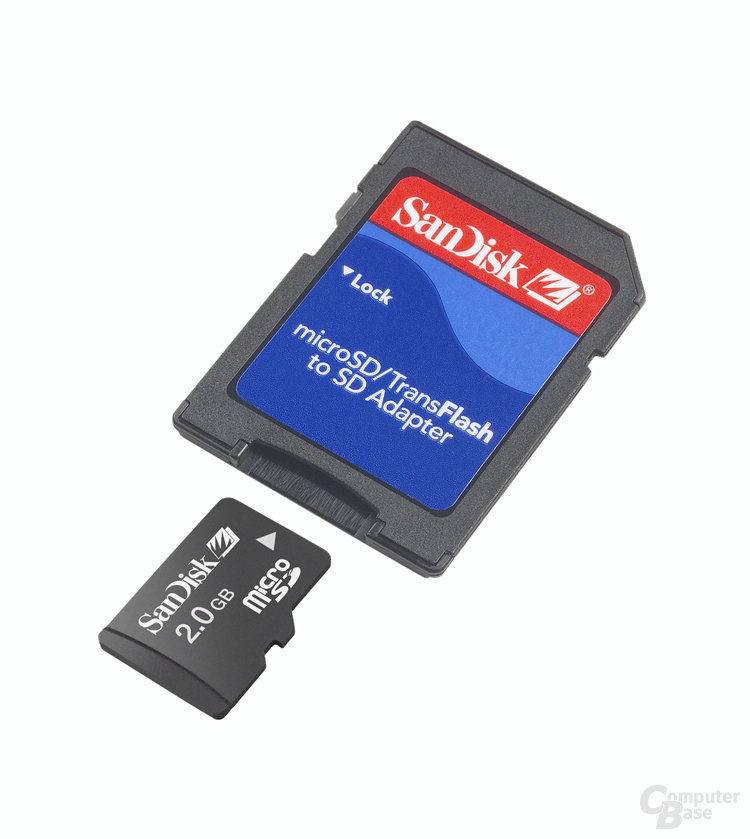 2 GB SanDisk microSD mit SD-Adapter