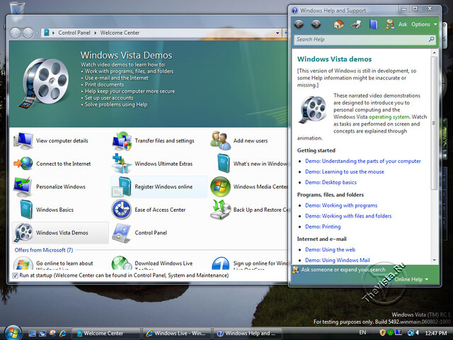 Windows Vista Build 5492 - Quelle: TheVista.ru