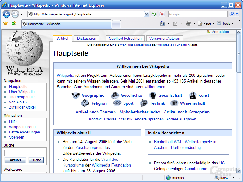 Internet Explorer 7 RC1 – Hauptfenster