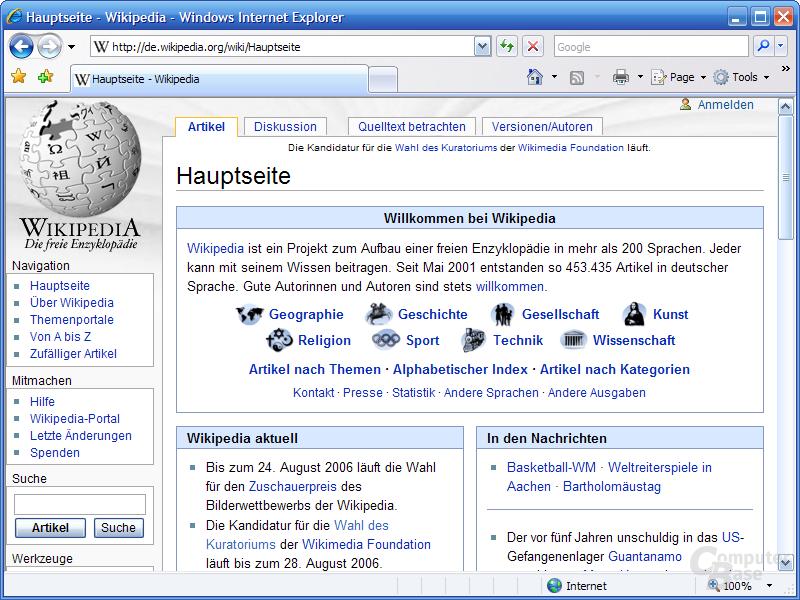 Internet Explorer 7 RC1 – Hauptfenster