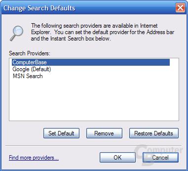 Internet Explorer 7 RC1 – Change Search Defaults