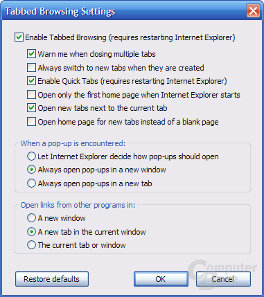 Internet Explorer 7 RC1 – Tabbed Browsing Settings