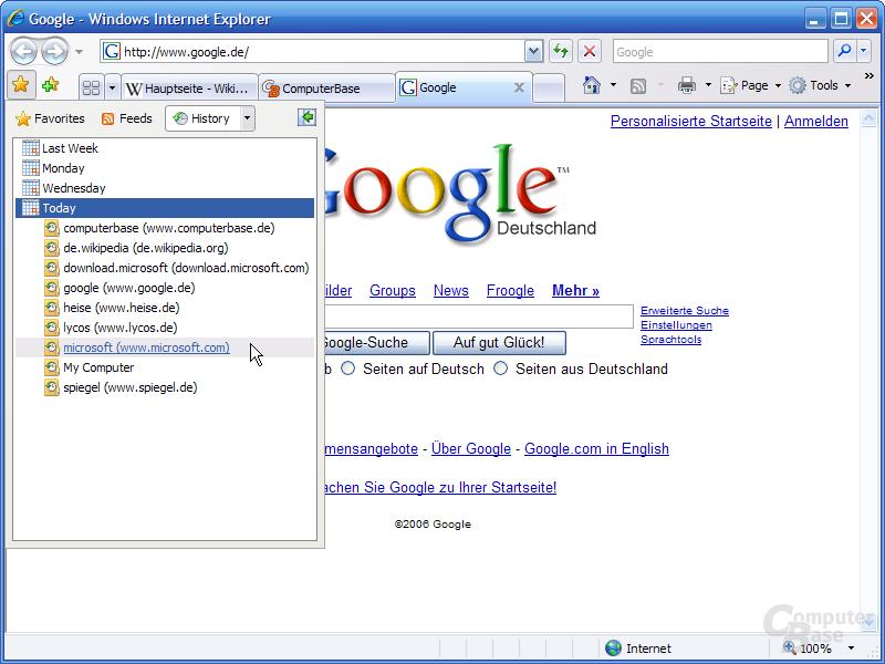 Internet Explorer 7 RC1 – Favoriten