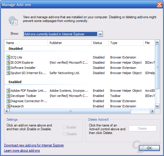 Internet Explorer 7 RC1 – Add-ons Manager