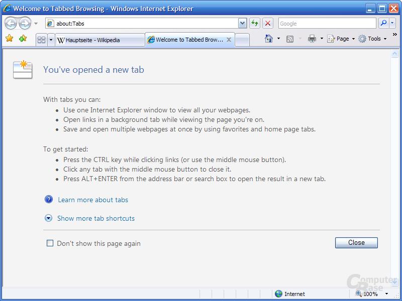Internet Explorer 7 RC1 – Öffnen eines Tabs